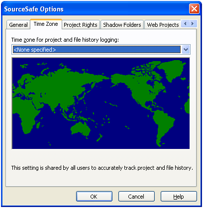 SourceSafe Options dialog for time zones