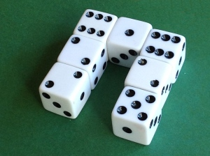 seven dice in a U-shape