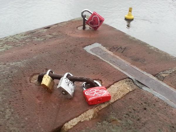 love locks on Old Bridge across Neckar