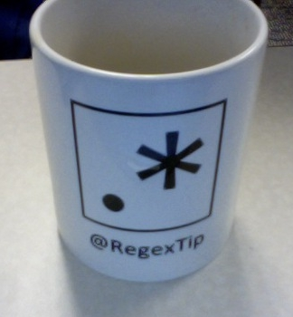 photo of coffee mug with @RegexTip logo