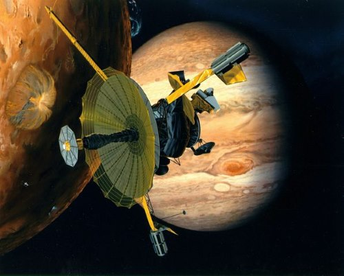 Artist conception of Galileo probe surveying Jupiter and its moons