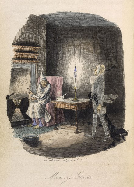 Jacob Marley's ghost in A Christmas Carol