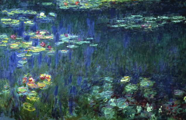 Monet painting lily pads