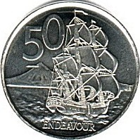 New Zealand 50 cent coin Endeavour
