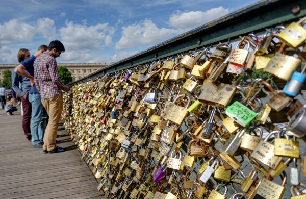 love locks on Pont des Arts across Seine