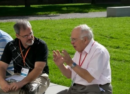 John Cook interviewing Michael Atiyah at HLF 2013