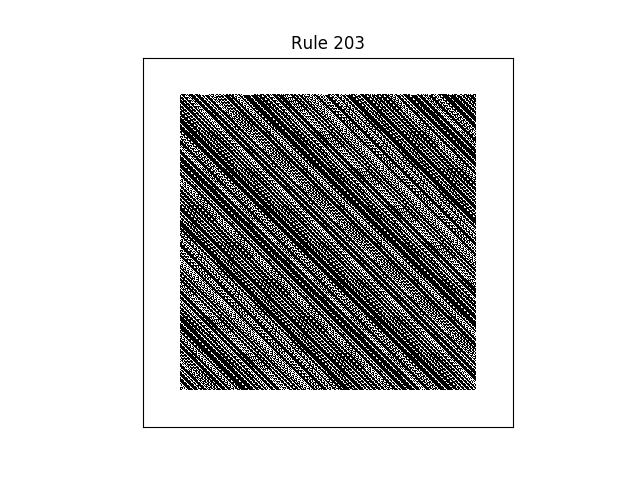 rule 203 with random initial conditions