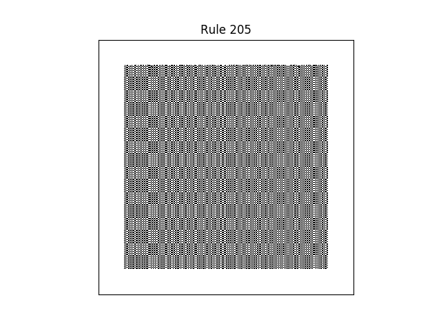rule 205 with random initial conditions