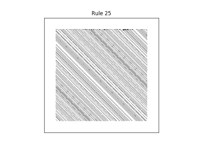 rule 25 with random initial conditions