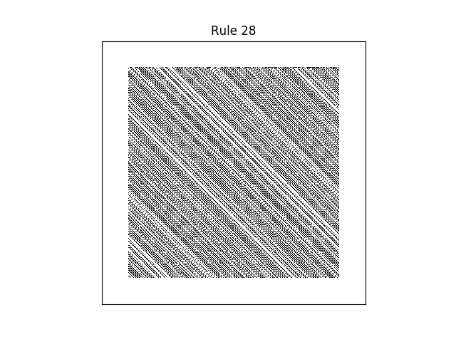 rule 28 with random initial conditions