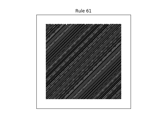 rule 61 with random initial conditions
