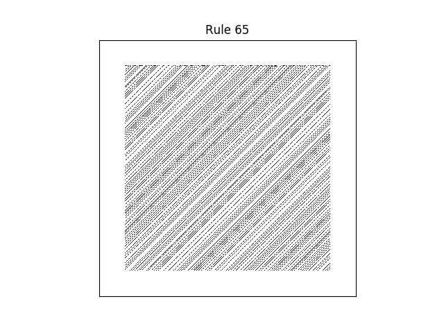 rule 65 with random initial conditions