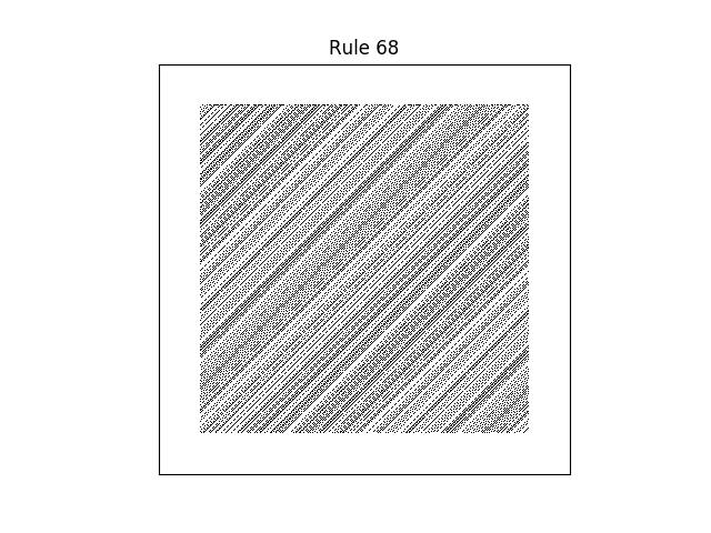 rule 68 with random initial conditions