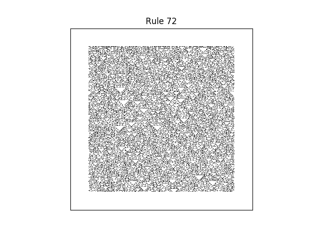rule 72 with random initial conditions