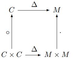 \begin{diagram} C & \rTo^{\Delta} & M \\ \uTo^{\circ} & & \uTo_{\cdot} \\ C \times C & \rTo^{\Delta} & M \times M \end{diagram}