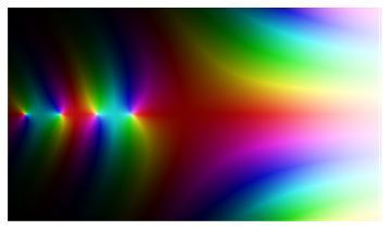 f[x_] := Gamma[x]; ComplexPlot[-3.5, -3, 7, 3, 200, 200]