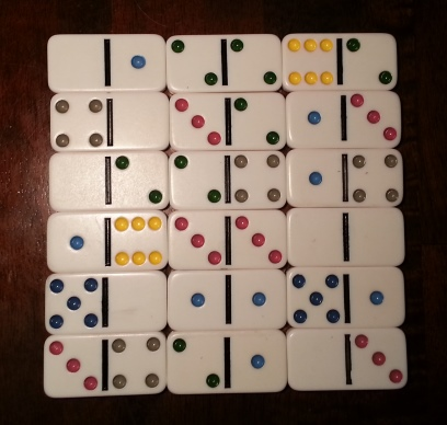 Magic square made from dominoes