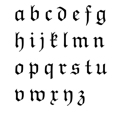 lower case alphabet in Fraktur