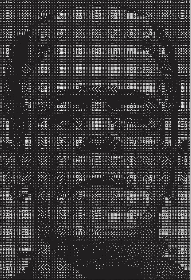 Image of Frankenstein's monster made from 48 sets of double nine dominoes