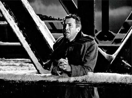 George Bailey on the Bedford Falls bridge