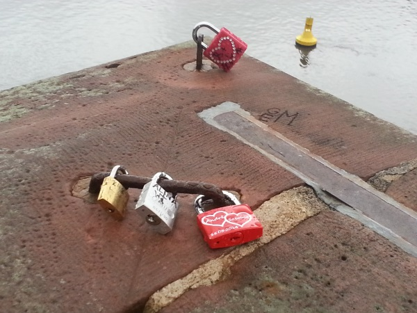 love locks on Old Bridge across Neckar