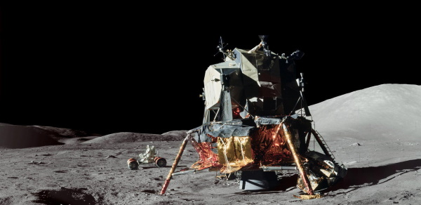 Lunar module and lunar rover, photo via NASA
