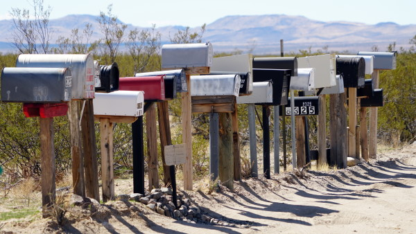 Row of mailboxes in rural area