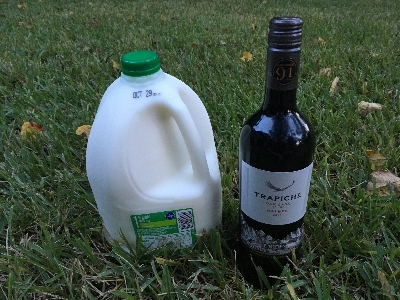 gallon of milk and bottle of wine