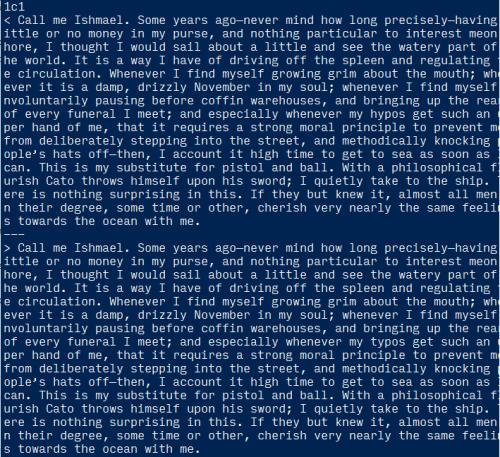 screen shot of command line