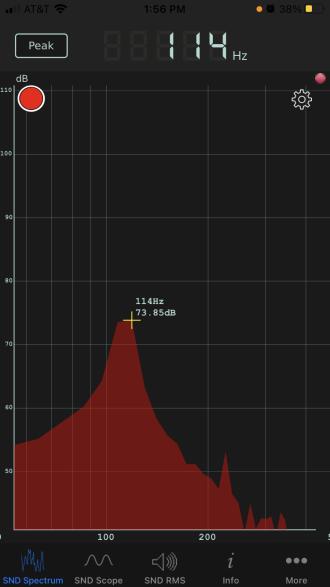 Audio spectrum of a 750 ml pinot noir bottle