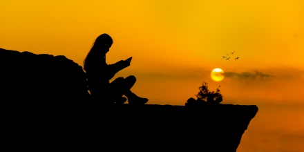 Reading at sunset