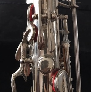 Silver alto sax with two octave keys
