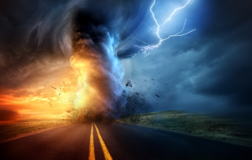 Tornado with lightning