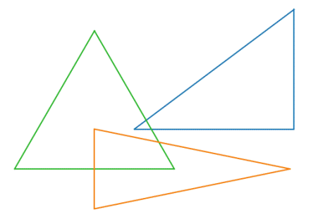 Triangles 4:4:4, 3:4:5, and 2:5:5