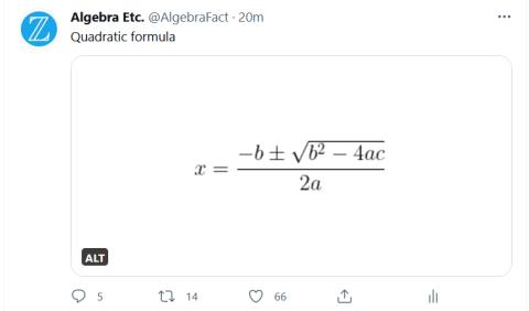 quadratic formula with ALT box in lower left
