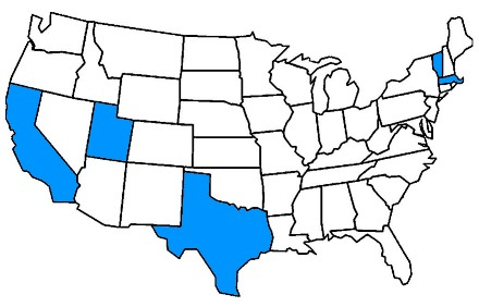 US map with states highlighted