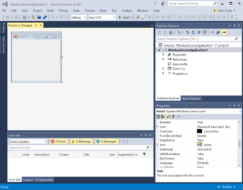 Visual Studio 2015 screen shot