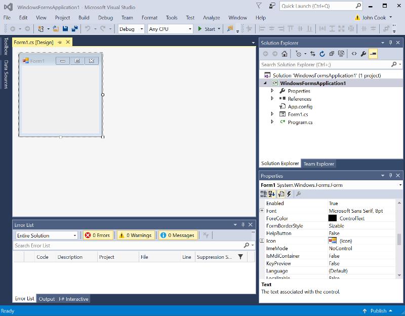 Visual Studio 2015 screen shot
